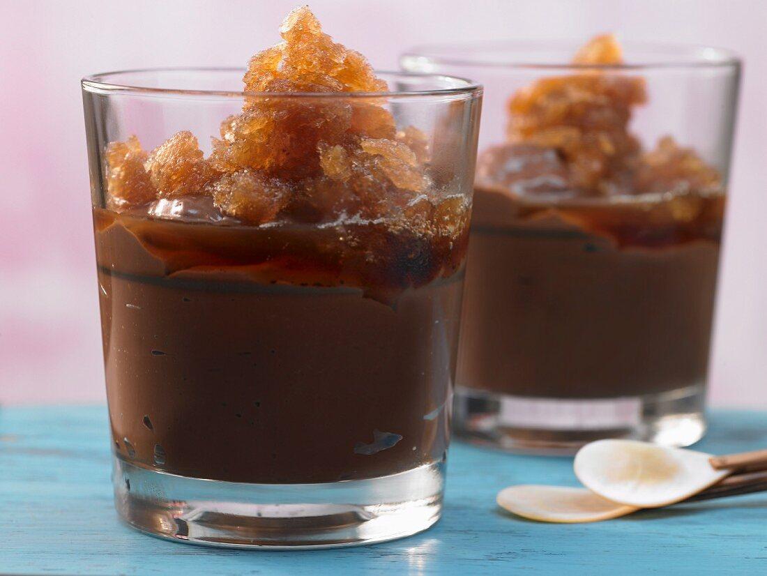 Natillas con hielo de cafe (Cuban chocolate and coffee bean granita)