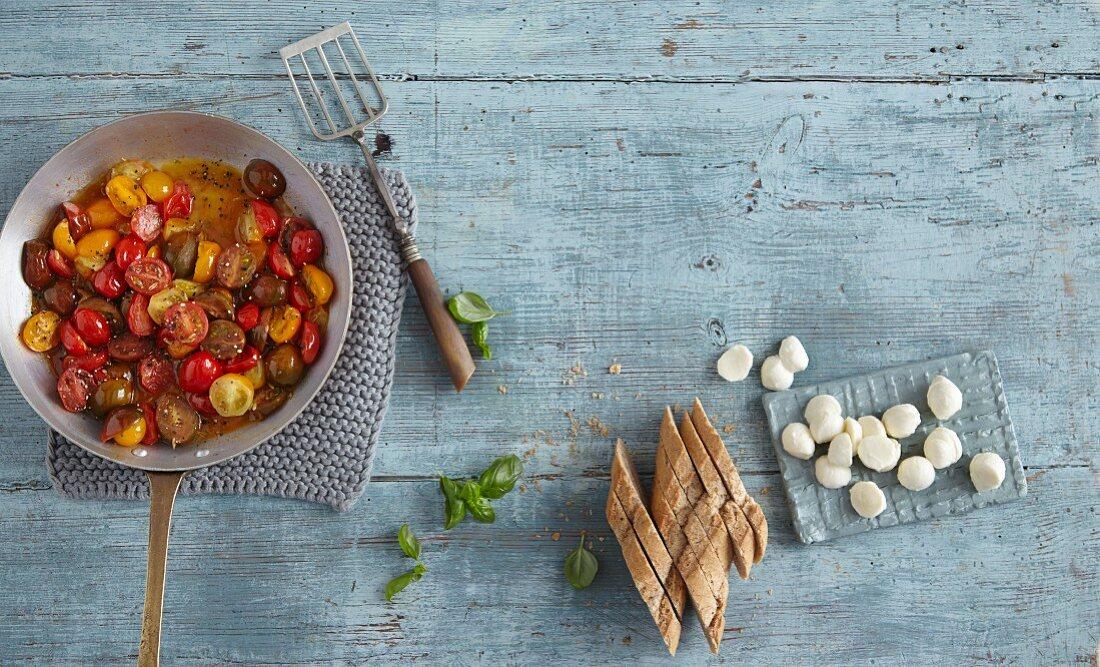 Ingredients for bruschetta with tomato ragout