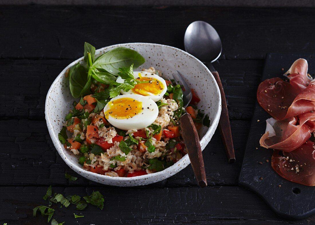 Vegetable porridge with a soft-boiled egg