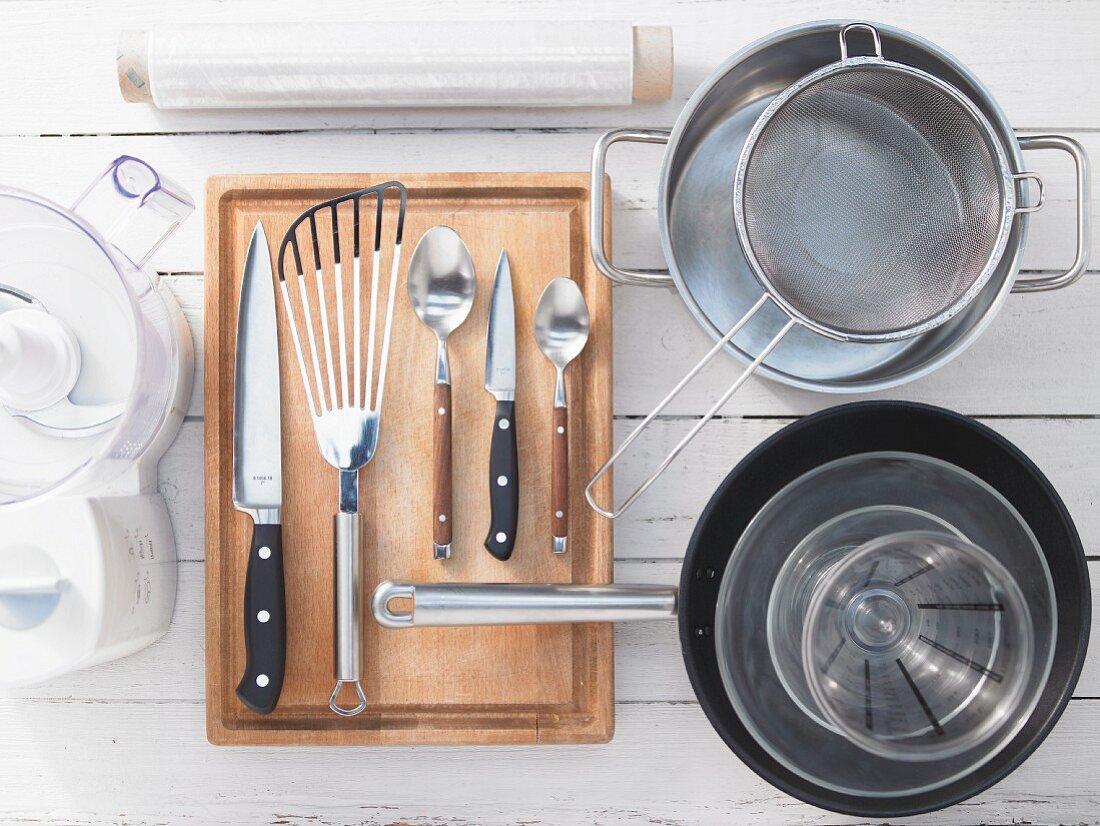 Kitchen utensils for making Masala Dosa (Indian pancake)