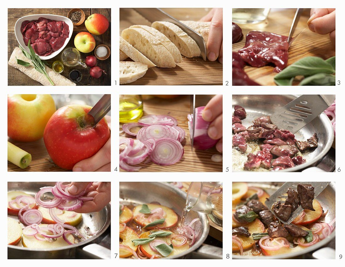 How to prepare Italian chicken liver crostinis with grilled apples and sage