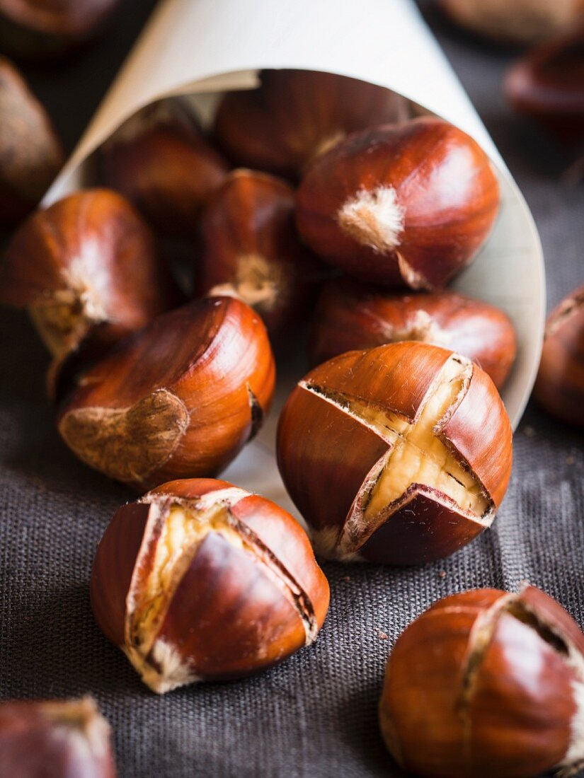 Roasted chestnuts, close up