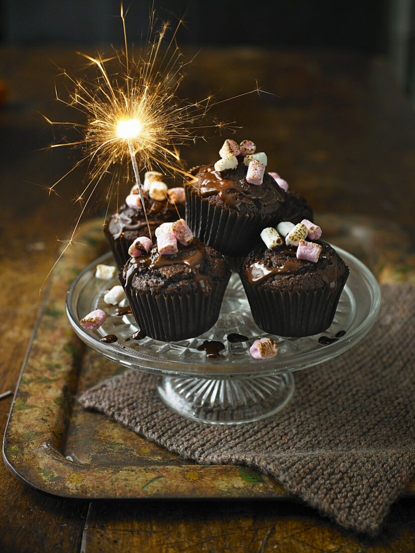 Chilli chocolate cupcakes with a sparkler