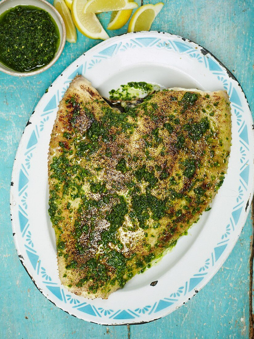 Baked plaice with parsley and hazelnut crumbs (top view)
