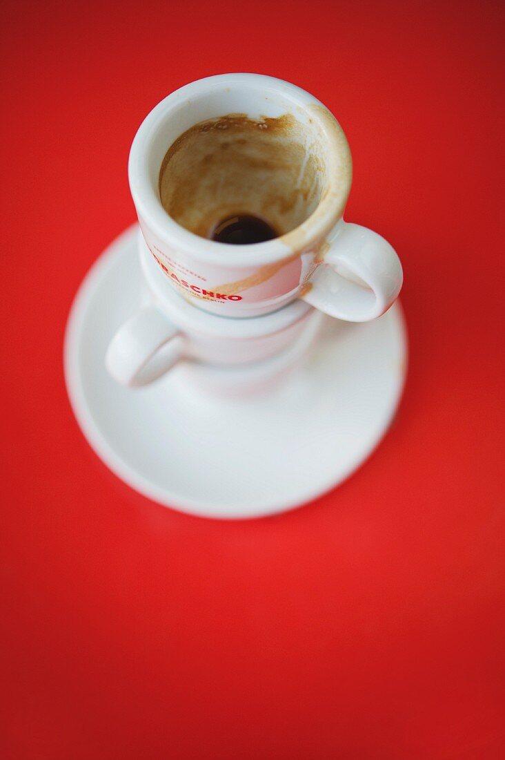 Empty espresso cups from the Wilhelm Andraschko coffee roastery in Berlin