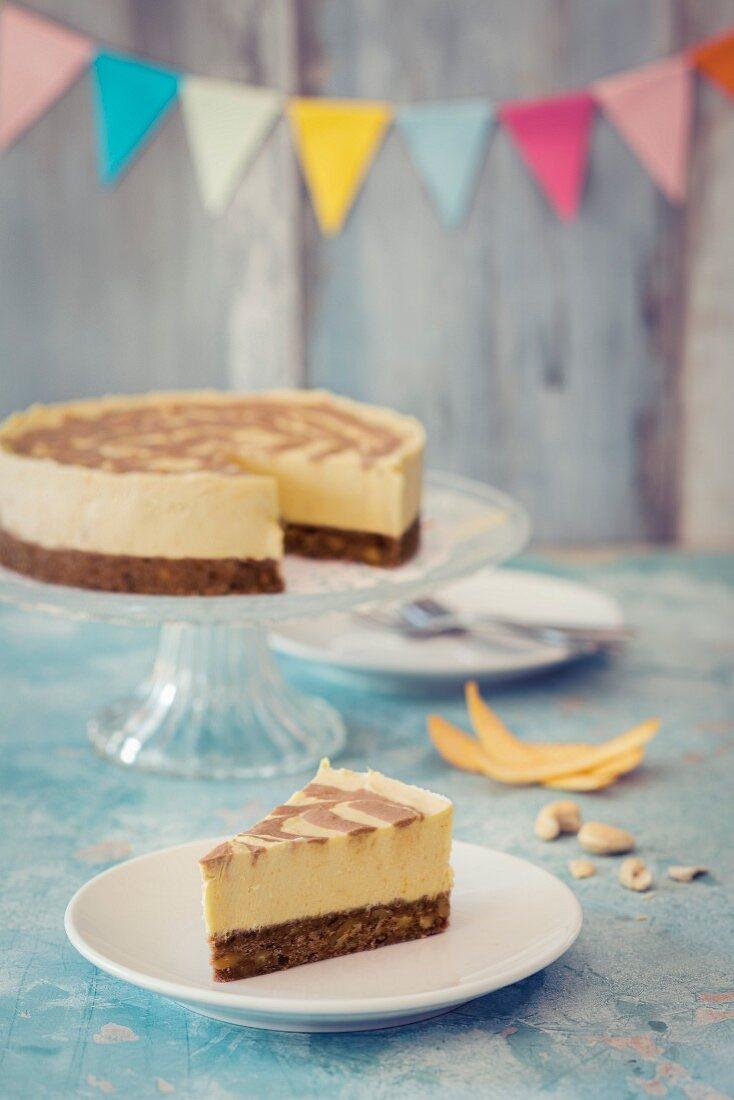 A vegan birthday cheesecake
