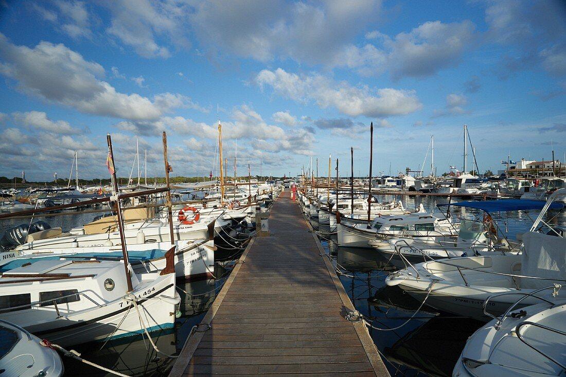 The harbour of Colonia de Sant Jordi in Mallorca, Spain