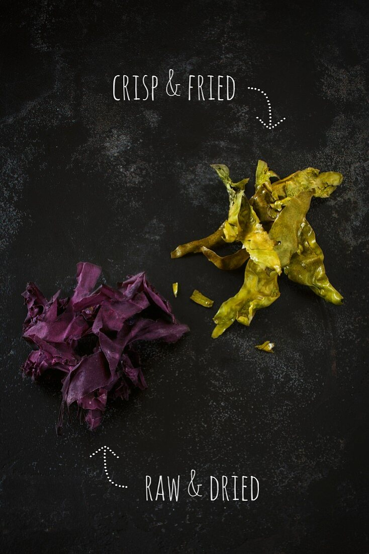 Raw and fried red algae with bacon flavouring (vegan)