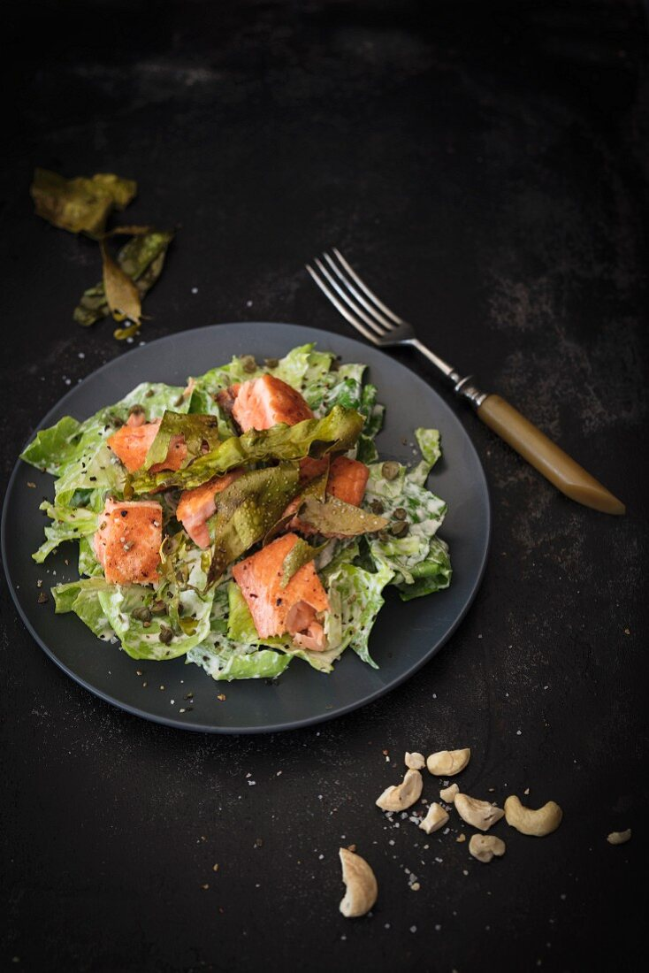 Caesar salad with crisp algae bacon and salmon