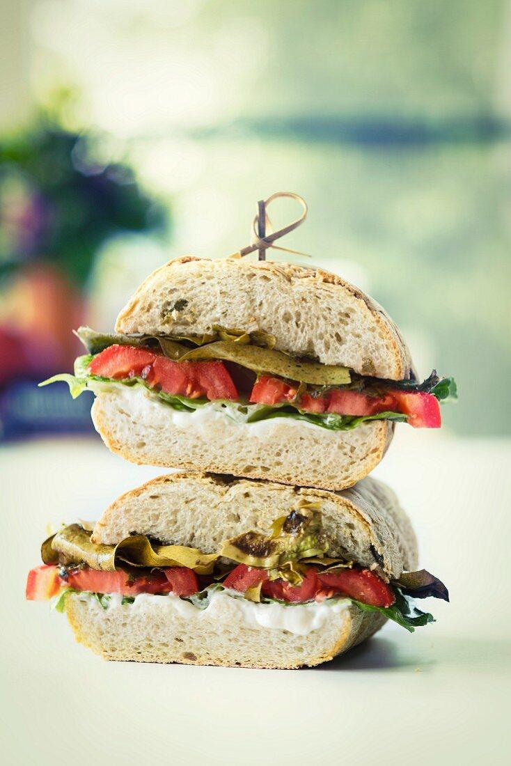 A ciabatta sandwich with seaweed bacon