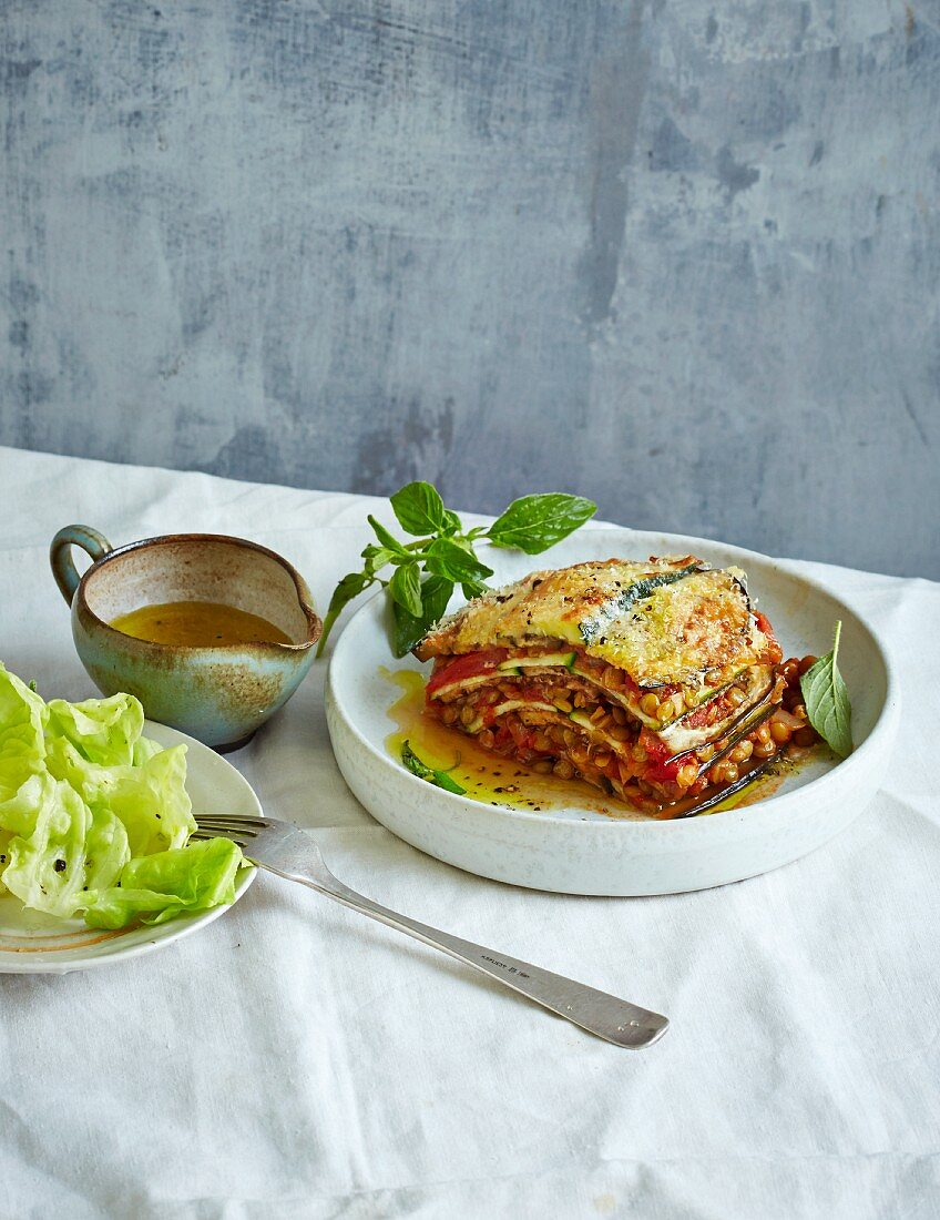 Aubergine and courgette lasagne with lentil bolognese (low carb)