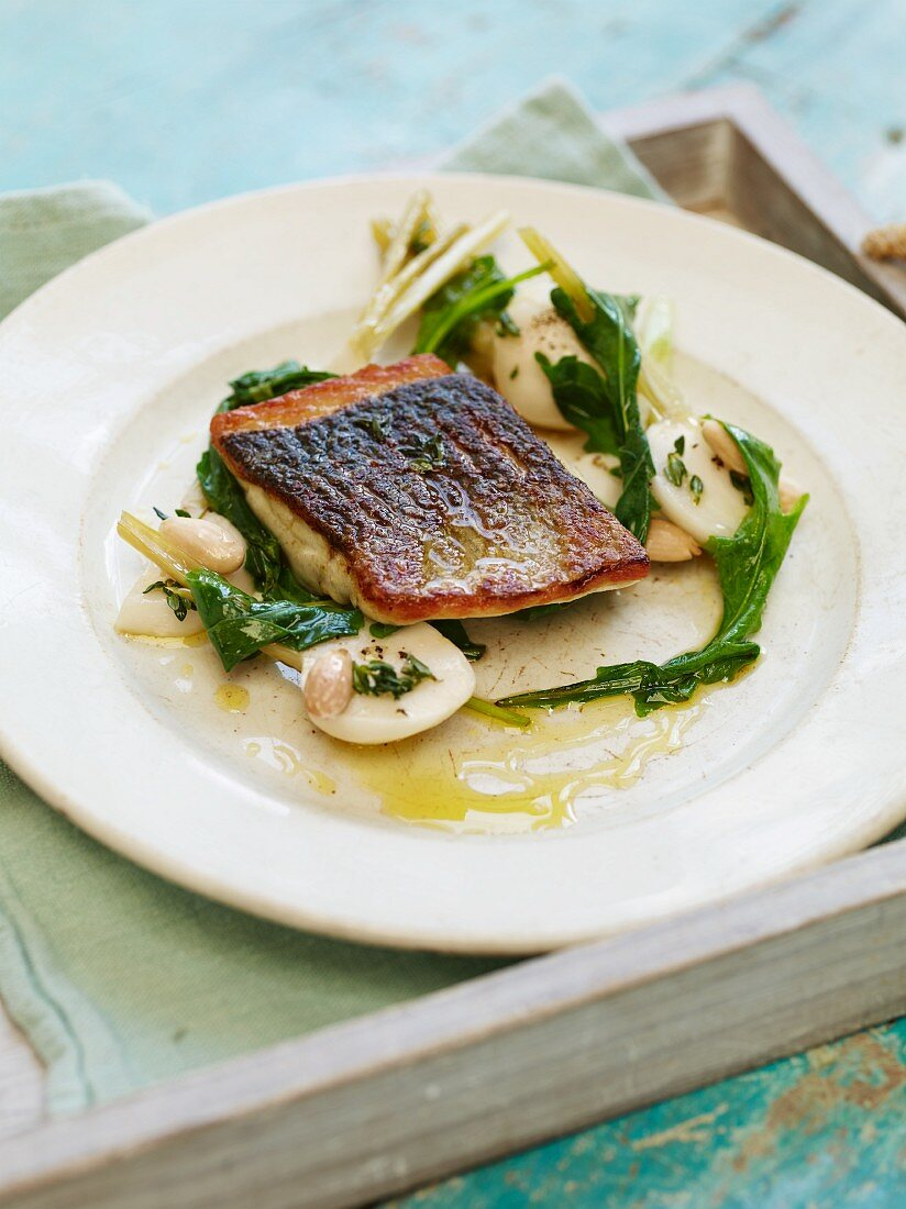 Pan fried seabass, pickled summer turnips, wilted tops and toasted almonds