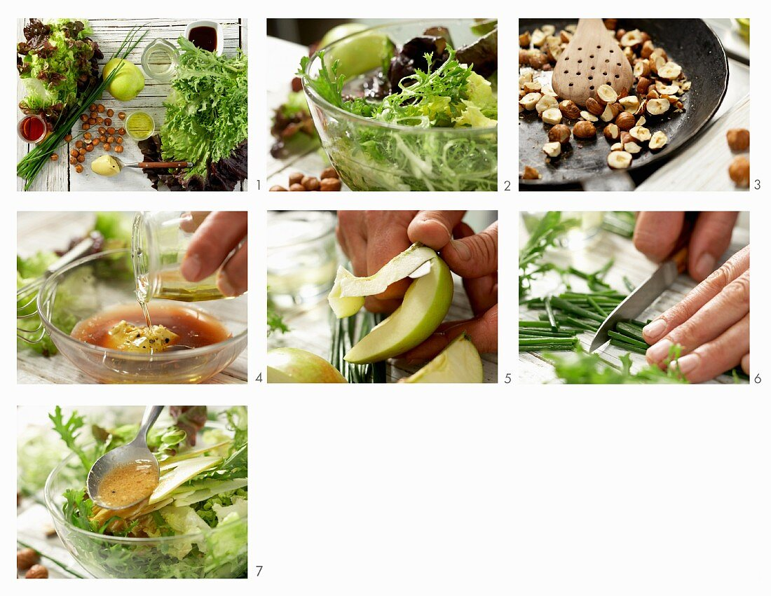 How to prepare a bistro salad with apple and a hazelnut vinaigrette