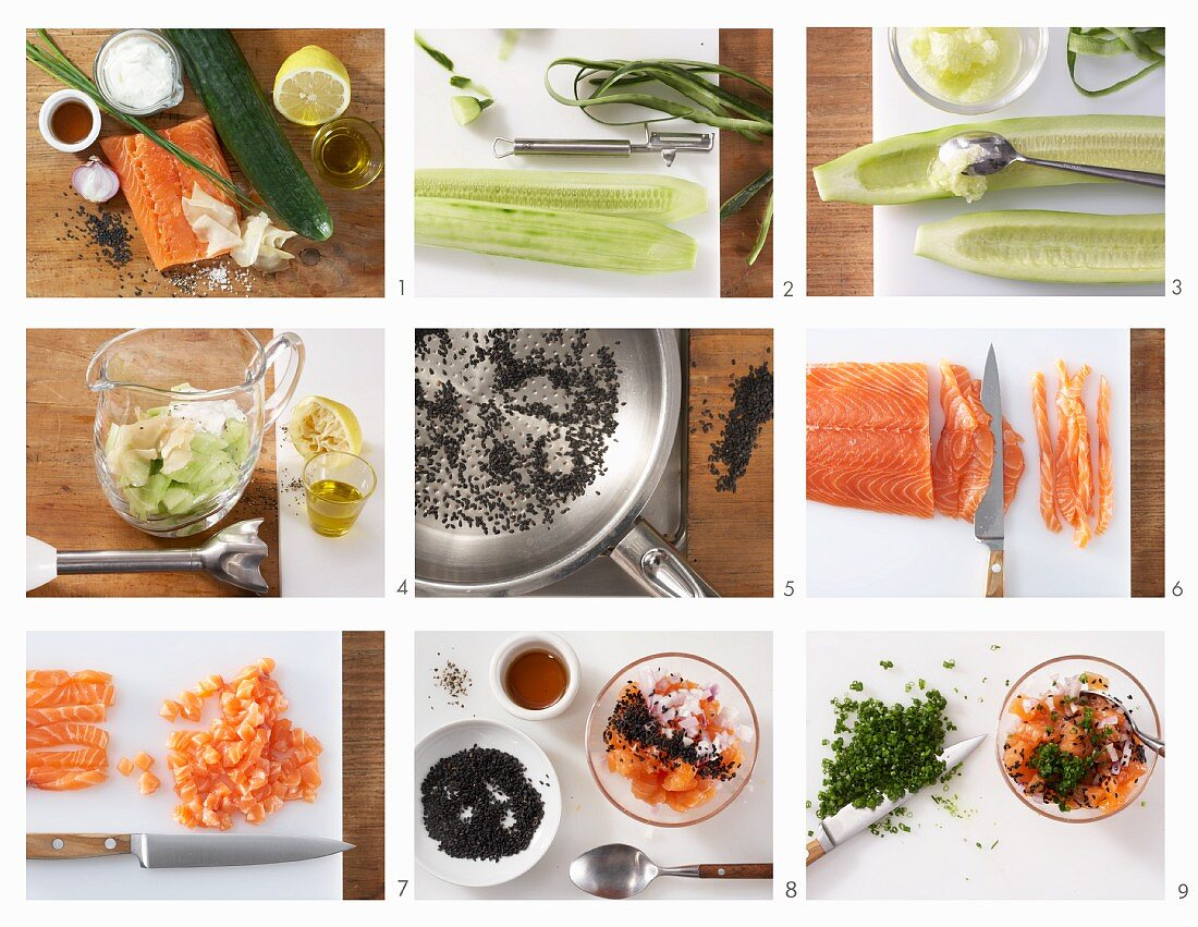 How to make cold cucumber soup with a salmon steak