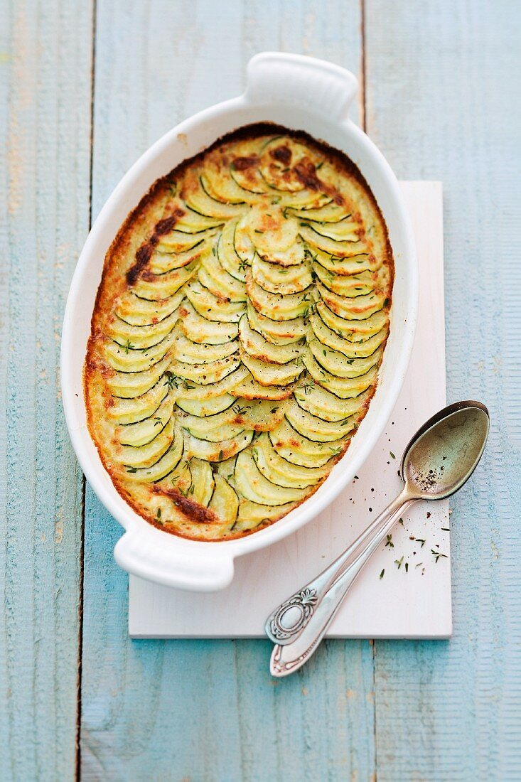 Courgette gratin in a baking dish