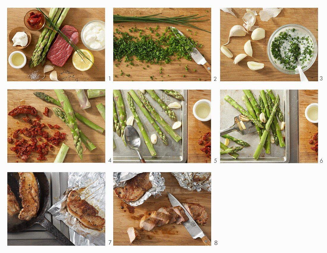 How to make veal tagliata with green asparagus