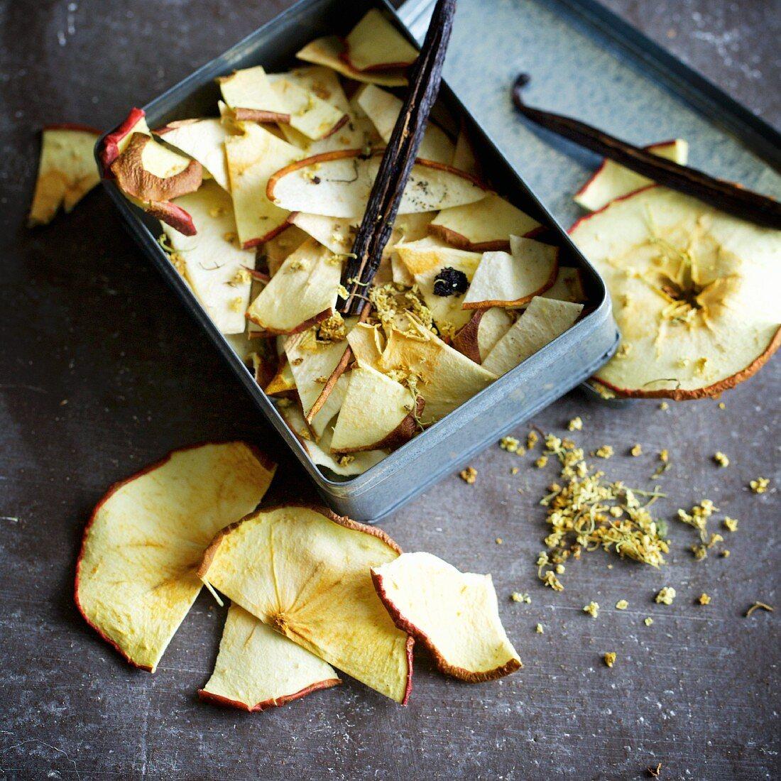 Home-dried apple and elderberry tea