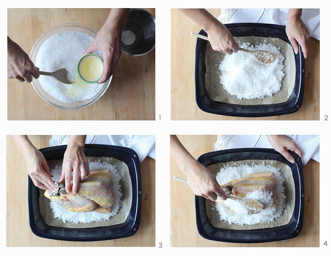 Perlhuhn aus der Salzkruste zubereiten
