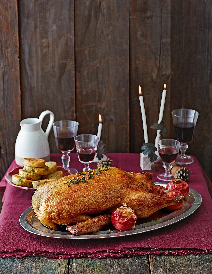 Duck stuffed with celery, nuts and baked apples