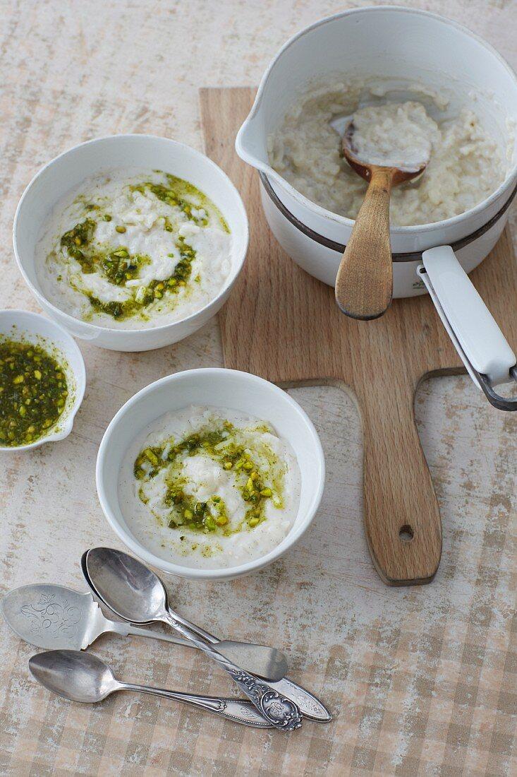Sugar-free almond milk rice pudding with lemon and pistachio pesto
