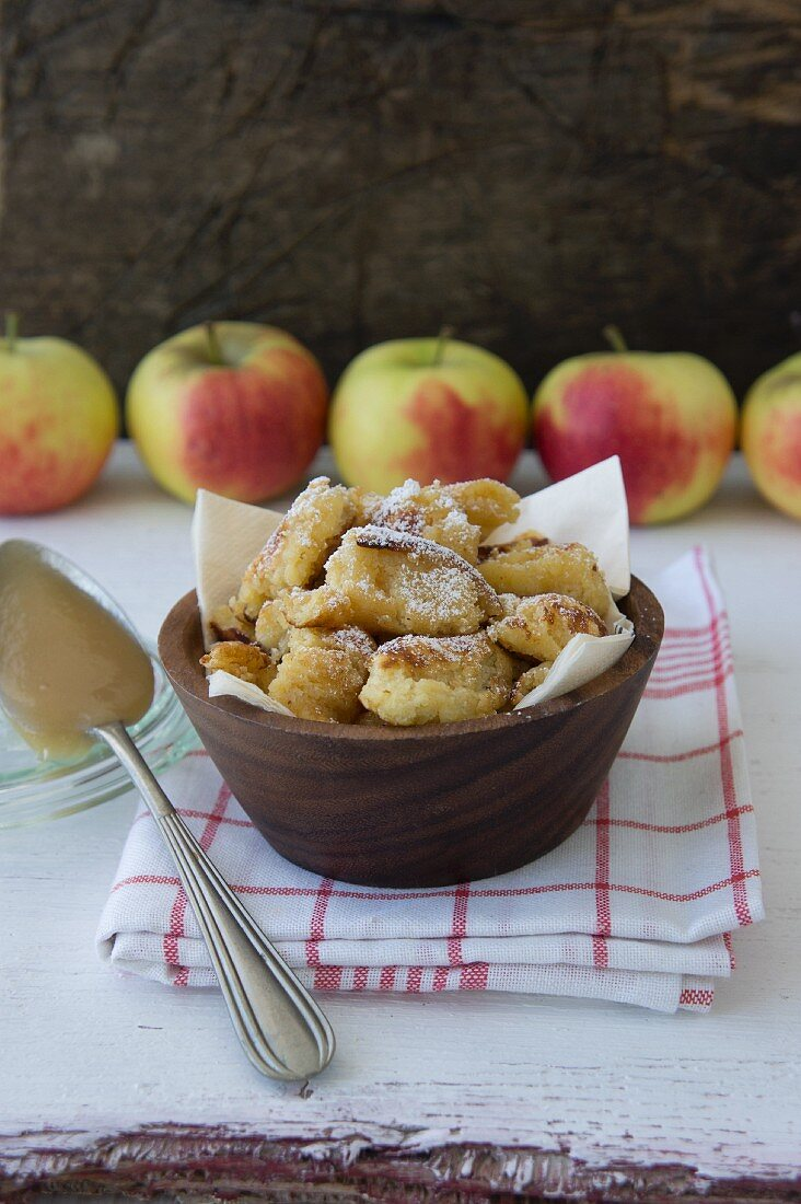 Kaiserschmarren (shredded sugared pancake from Austria) with apple purée
