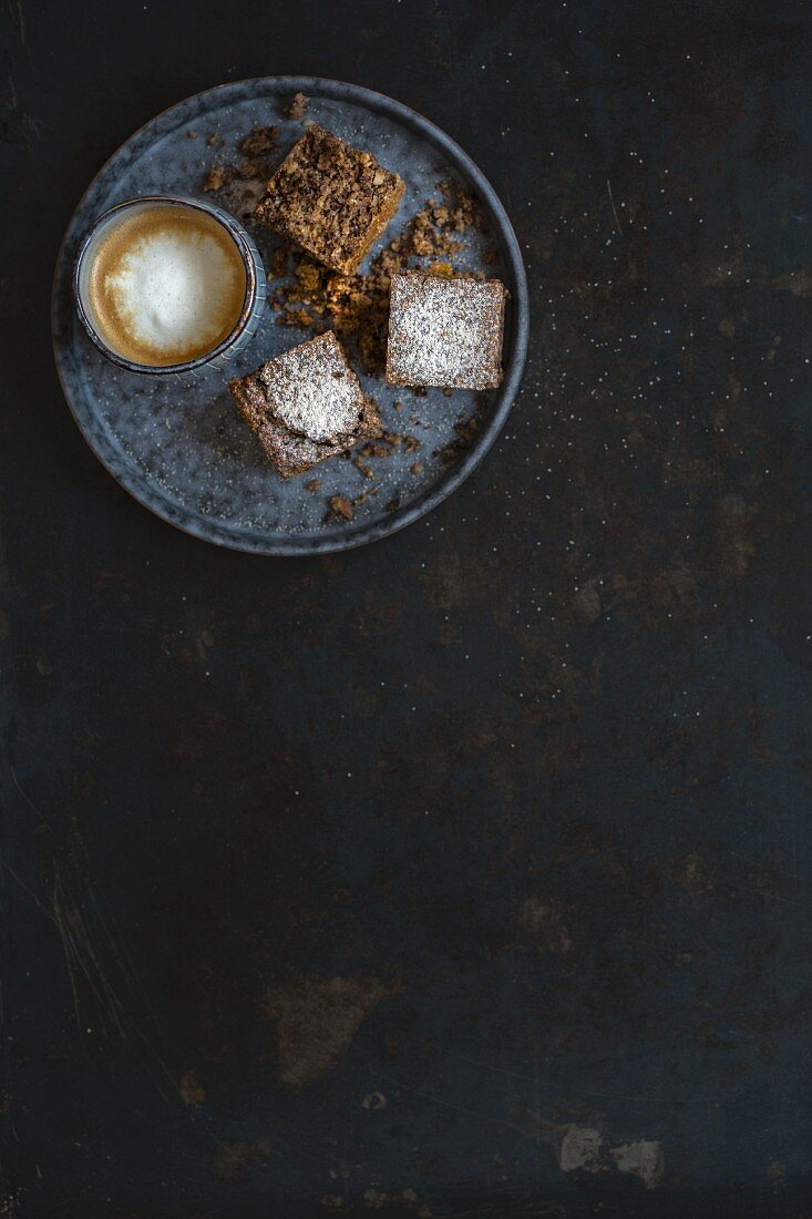 Brownies and a cappuccino (seen from above)