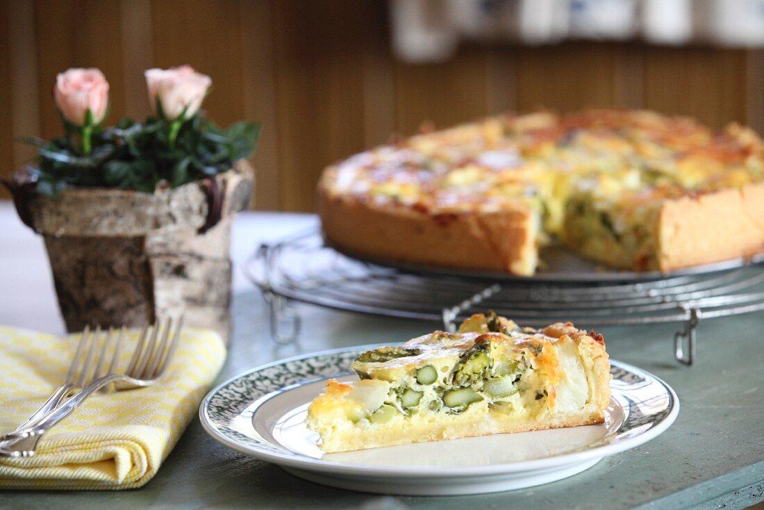 Asparagus quiche with basil