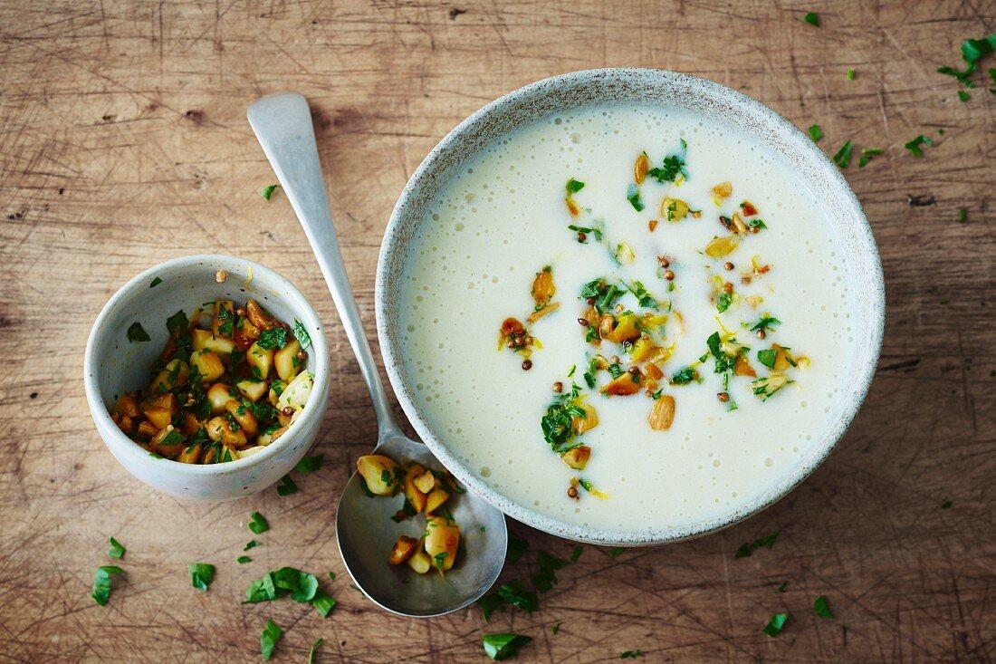 Vegan potato soup with almond crunch topping (soya-free)