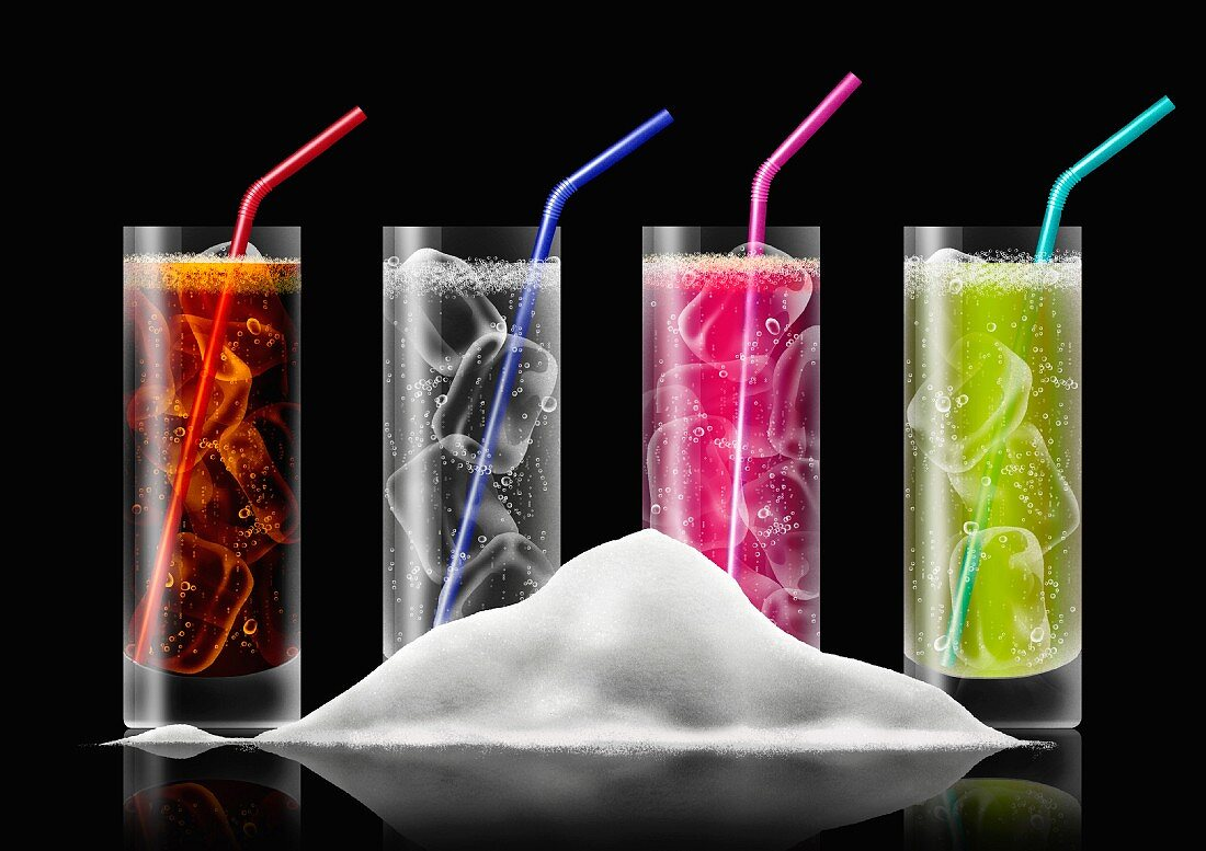 Pile of sugar in front of row of brightly colored fizzy drinks