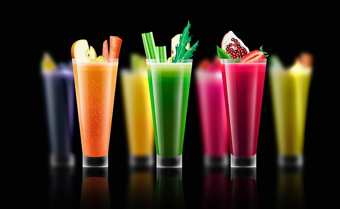 Rows of different fresh smoothies