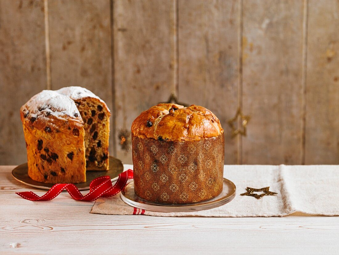 Chocolate chip and fruit panettone for Christmas