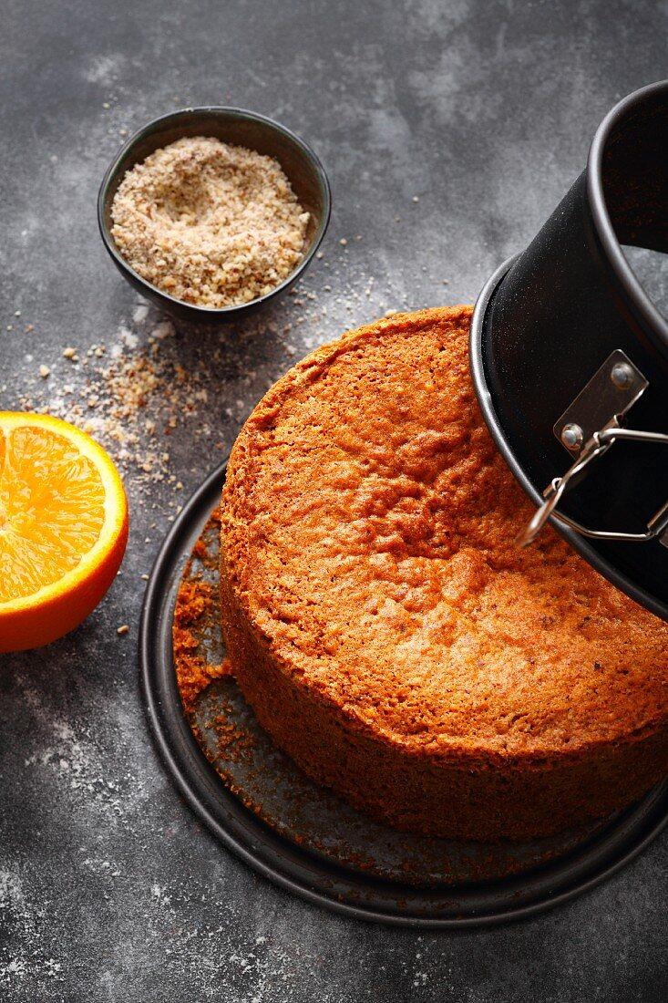 Orange and nut sponge base for multi-layered cakes