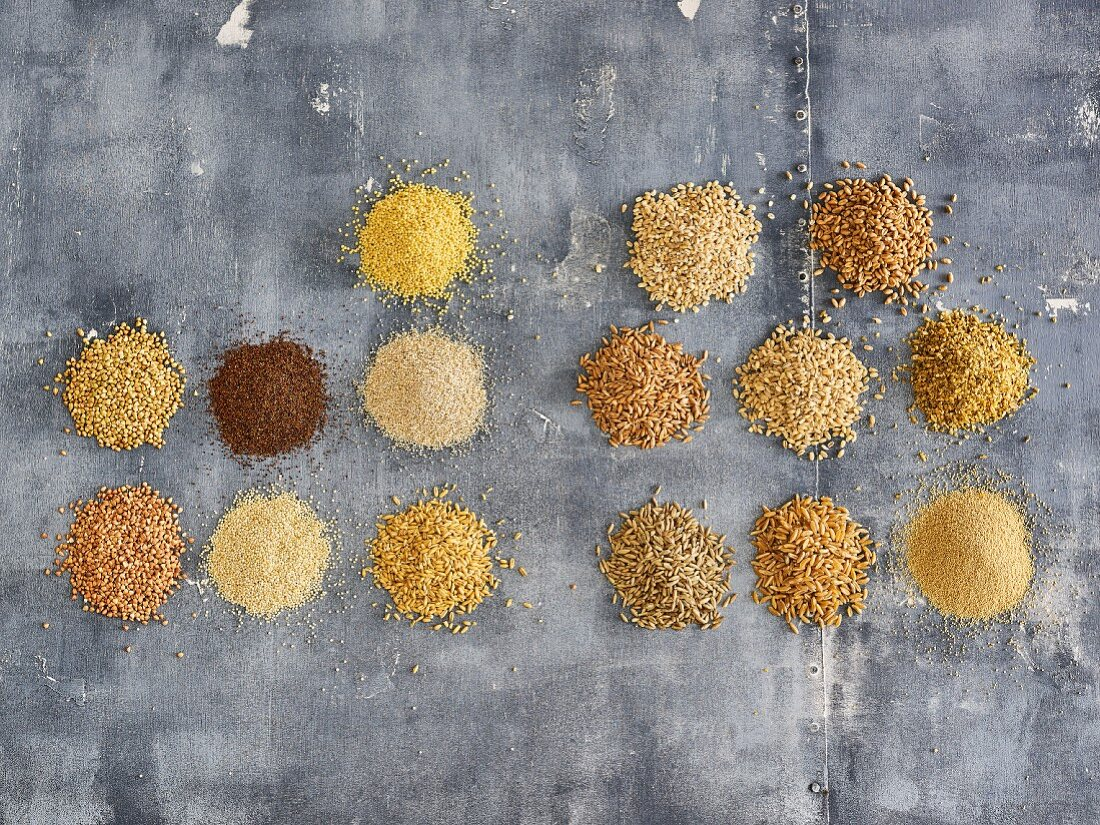Different grain varieties and grain products (top view)