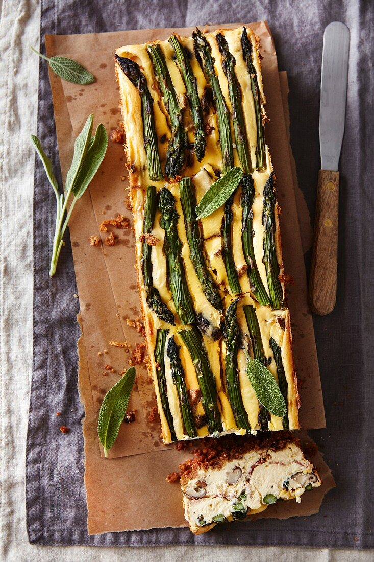 Wild mushrooms and asparagus cheesecake