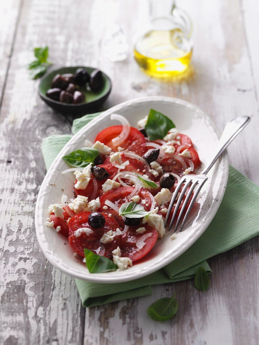 Tomato salad with olives and sheep's cheese