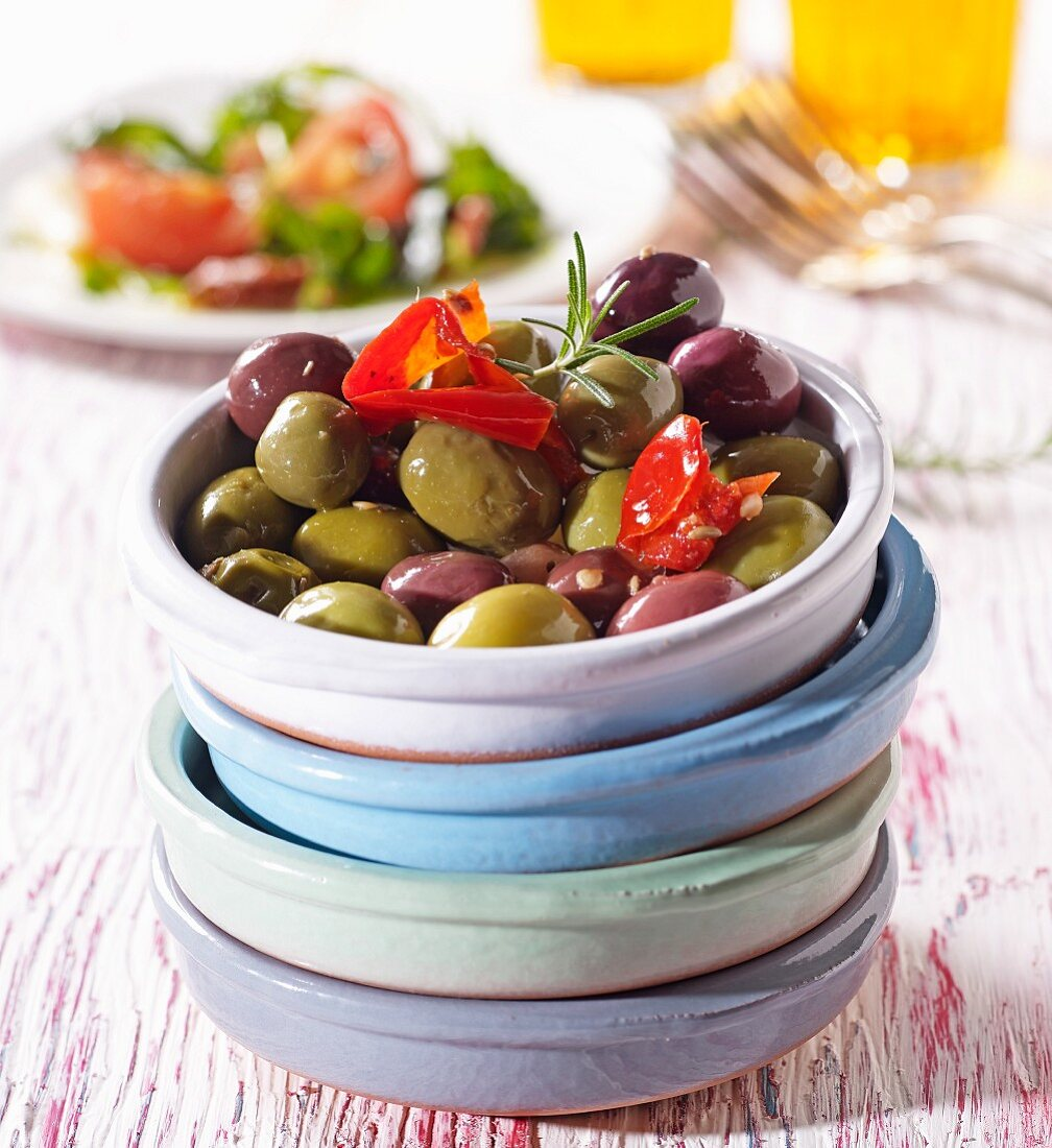 Spicy olives with peppers