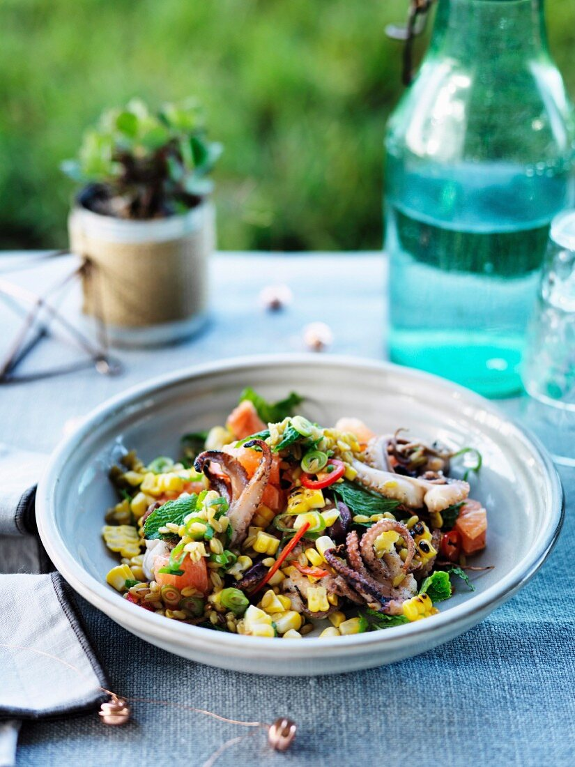 Octopus, corn, mint and farro, Salad