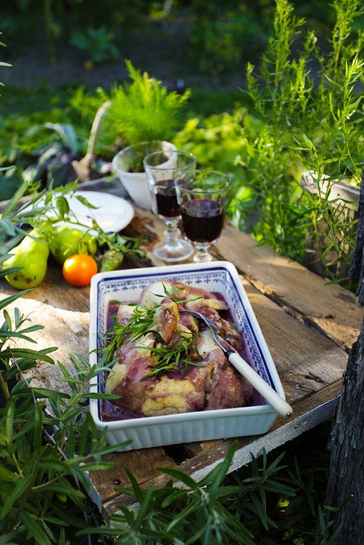 Braised chicken with red wine and tarragon