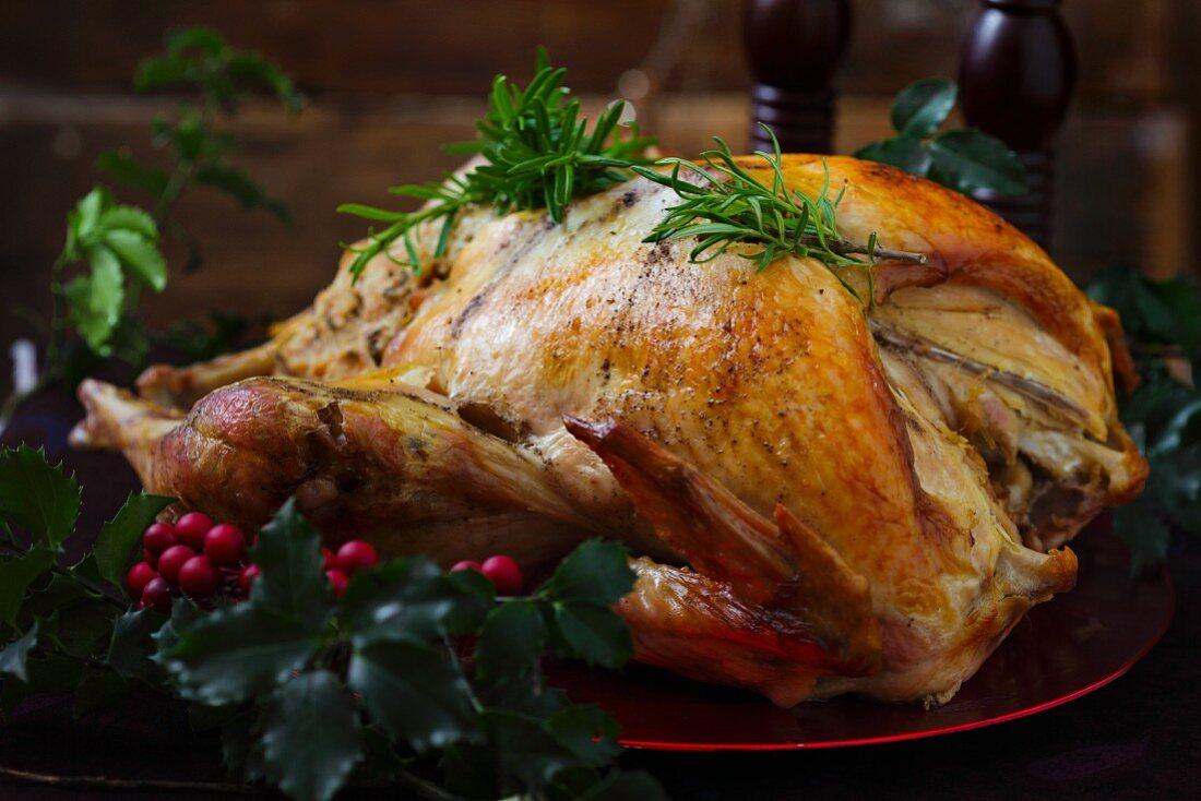 Roast turkey with rosemary