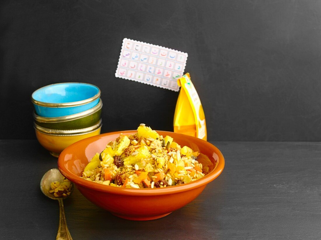 Arab rice dish with fruit and seeds