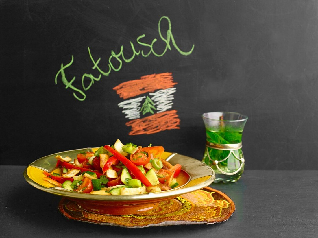 Lebanese bread salad and mint tea