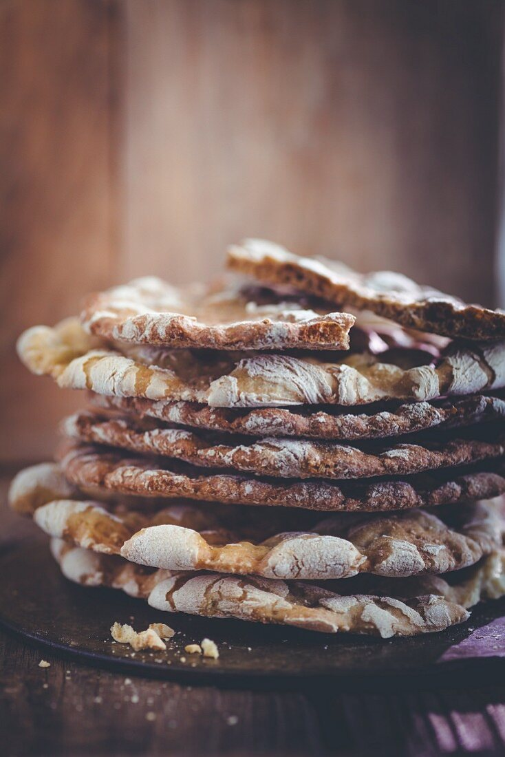 A stacked of Schüttelbrot (crispy unleavened bread from South Tyrol)