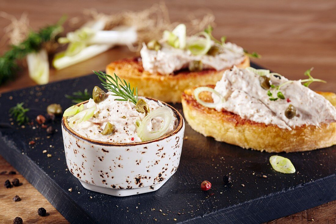 Creamy tuna fish dip with capers
