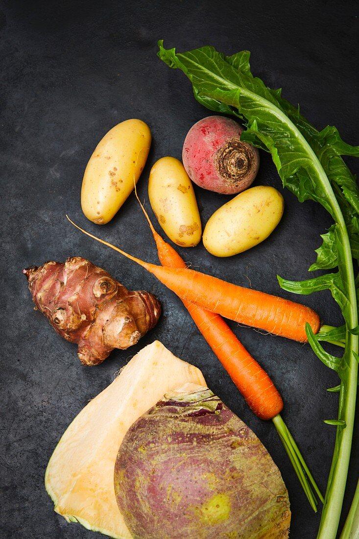 Ingredients for vegan vegetables (carrots, beetroot, Tonda di Chioggia, dandelion, potatoes, Jerusalem artichoke)