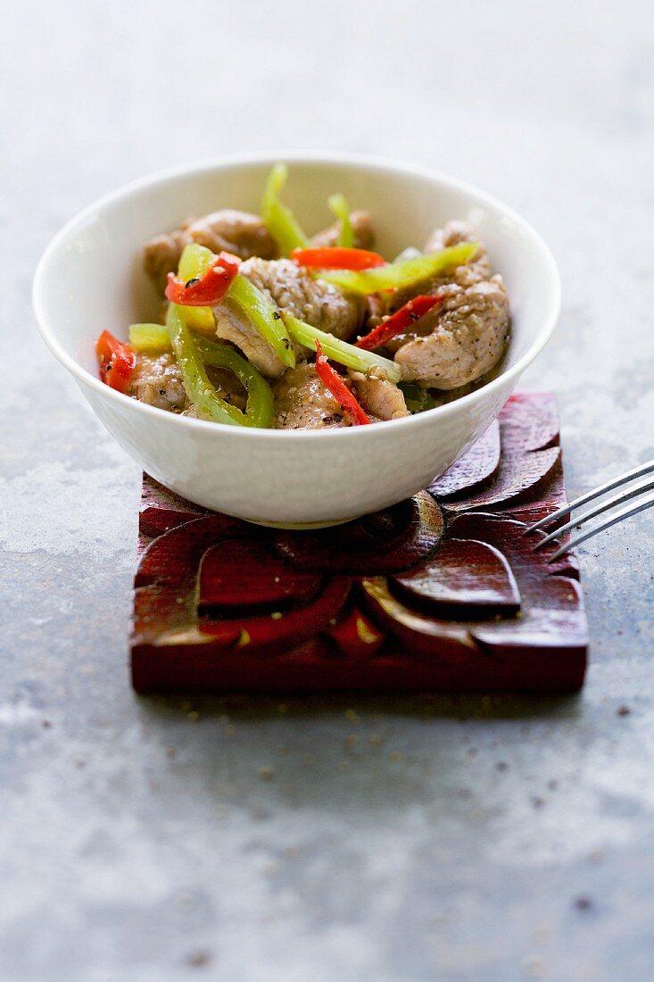 Muh Pad Prik Ohn (pork with a pepper medley, Thailand)