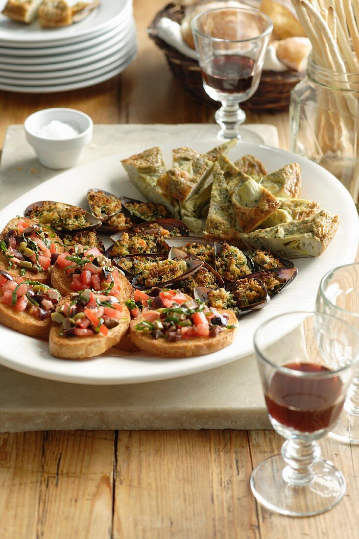 Artichoke Frittata, Grilled Stuffed Mussels and olive & Tomato Bruschette
