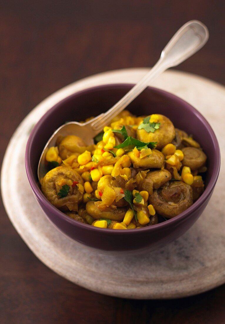 Indian Turmeric Mushrooms & Corn
