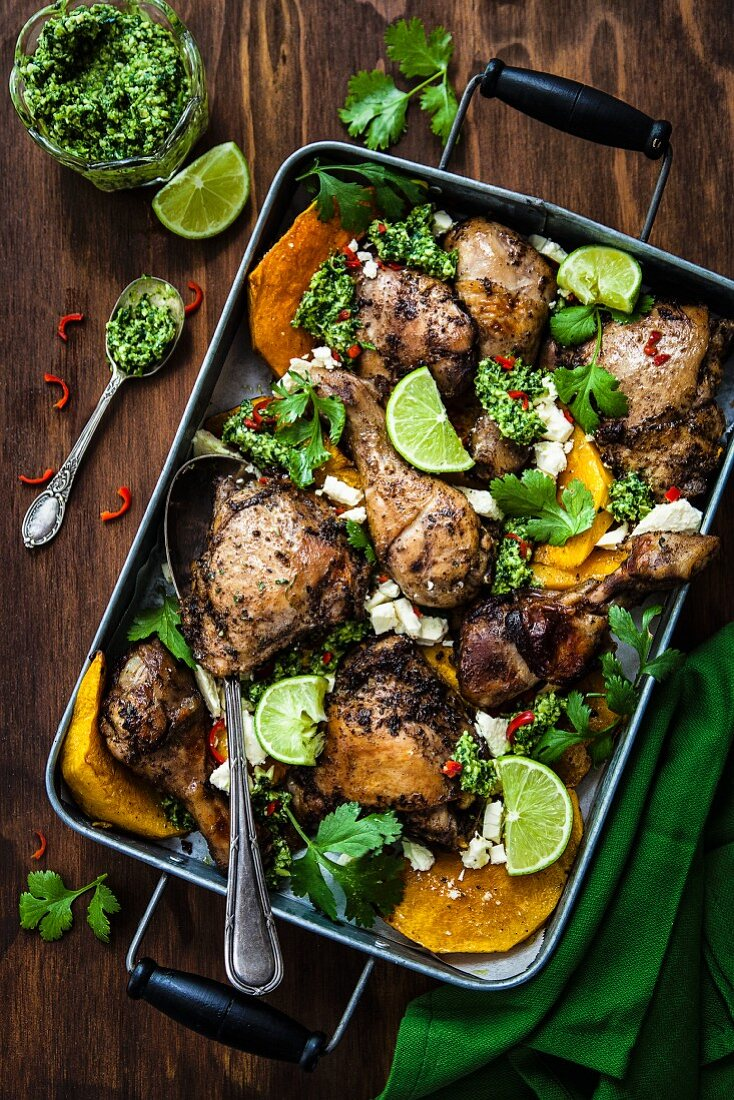 Mexican chicken with pumpkin and pumpkin seed pesto