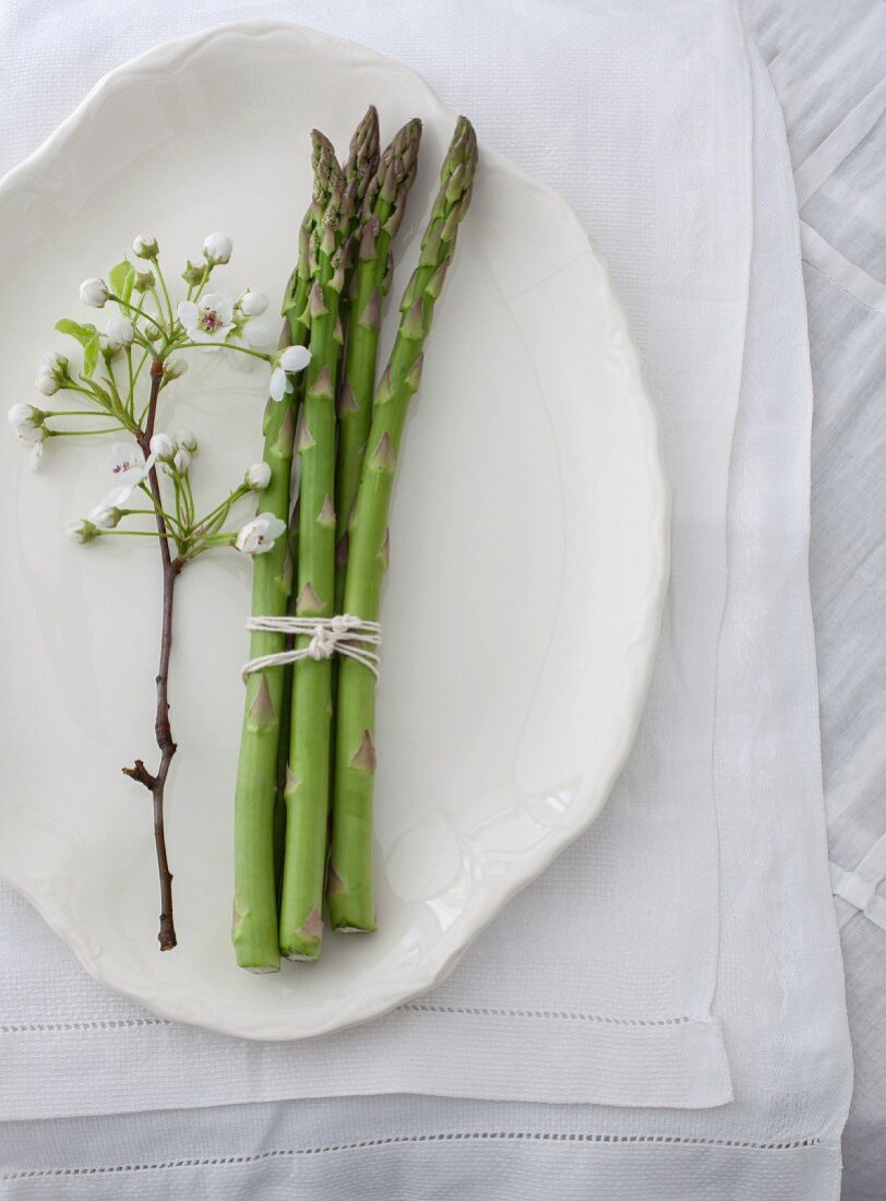 A bundle of asparagus and apple blossom on a serving platter (seen from above)