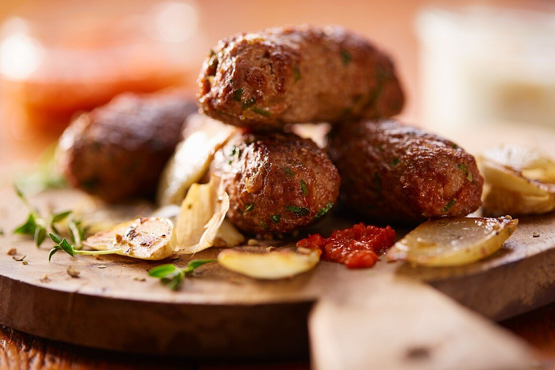 Cevapcici (grilled minced meat sausages, Balkans)